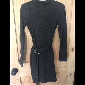 First and I ribbed mock neck dress with belt